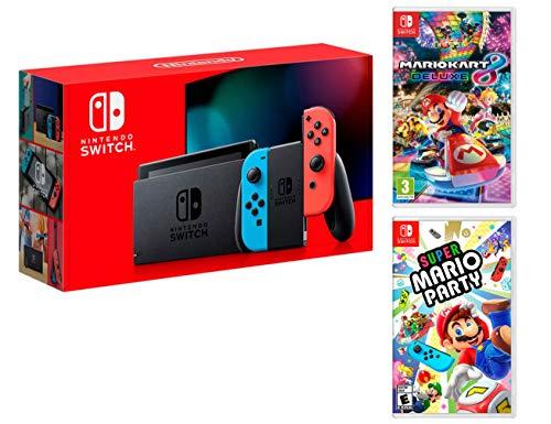 Nintendo Switch Rouge/Bleu Néon 32Go [Nouveau modèle V2] Super Mario Party + Mario Kart 8 Deluxe