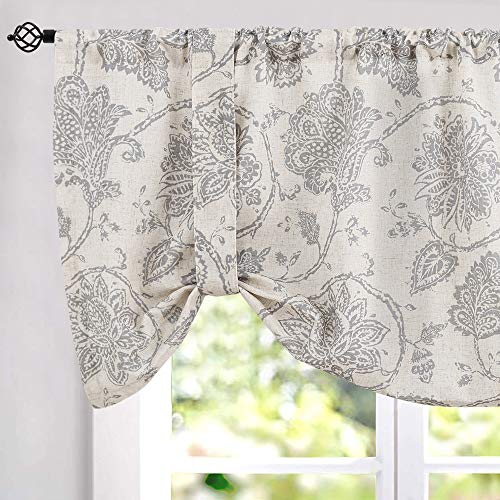 Tie Up Valance Curtains for Windows Linen Textured Adjustable Tie-up Shade for Kitchen Rod Pocket Medallion Design Rustic Jacobean Floral Printed Tie-up Valance 1 Panel 18-Inch Grey