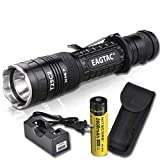 EagleTac T25C2 XP-L 1338 LED Lumens 300 Yards Compact LED Tactical Flashlight with LumenTac Charger and Rechargeable Battery