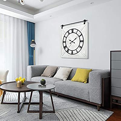 """HAWOO Farmhouse Large Wall Clock for Living Room Decor, Big Wall Clock with Silent Battery Operated Roman Numerals, Rustic Barn Door Decorative Clocks, 30"""" H x 28"""" W, Whitewash"""