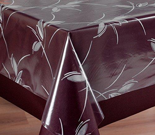 Transparente Folie Bedruckt in Ranke weiß, Tischdecke Tischschutz, Größe wählbar (100 x 140 cm)