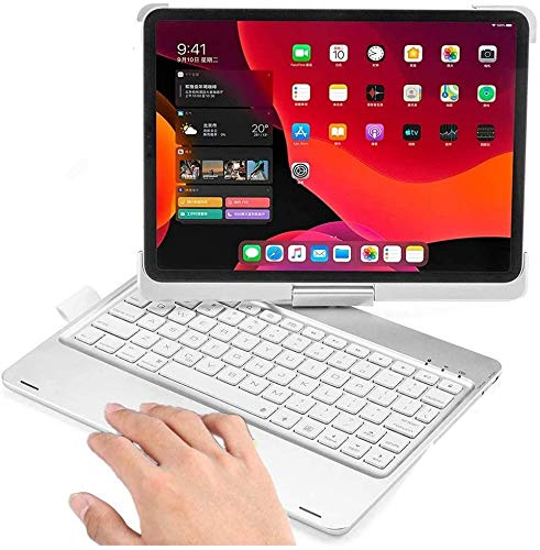 360 Rotatable iPad Air 4 2020 10.9 Inch Keyboard Case with Touchpad, Backlits Bluetooth Keyboard Flip Smart Cover for iPad Air 4th Generation 2020 (Silver-360 Rotate)