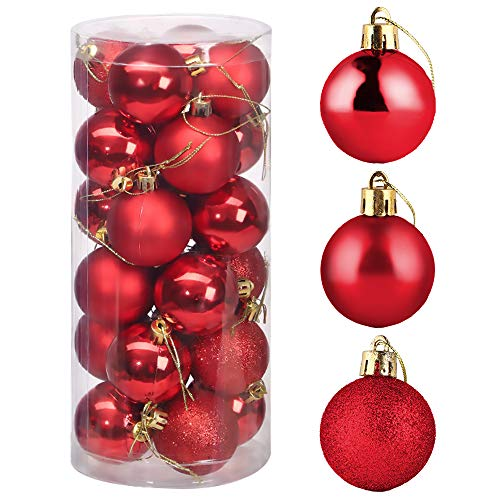 ZoneYan Christmas Bauble, Large Ball for Christmas Tree Decoration Ornament,Christmas Tree Decorations Baubles Set,Plastic Shatterproof Xmas Balls with Hanger (red)