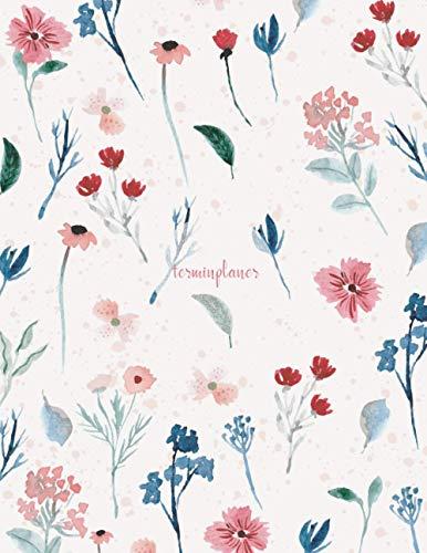 Terminplaner: Kosmetikstudio & Nagelstudio DATEN Kalender | 8AM - 8PM Friseur Salon Terminbuch | Mon - Son Beauty Tageskalender | Inkl. Kundenbuch | Pastel Flowers
