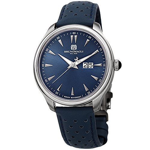 Bruno Magli Men's Luca Swiss Quartz Watch with Blue Italian Semi Perforated Leather Strap
