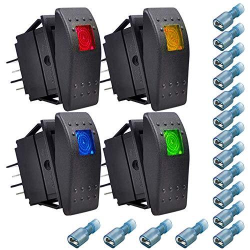 Gebildet 4pcs Interruptor Basculante,ON-Off LED Interruptor para Barco Marino(Rojo,Amarillo,Azul,Verde)+16pcs Terminal(6.3mm)