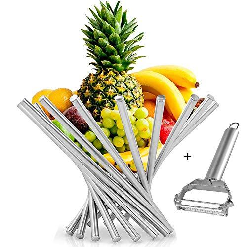 Creative - Frutero plegable de acero inoxidable para decoración de frutas, cesta de fruta giratoria