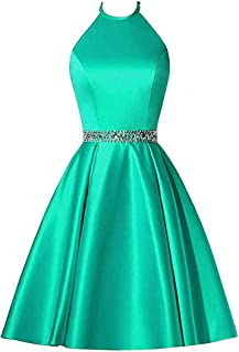 Botong Halter A Line Homecoming Dresses Short Satin Beaded Cocktail Dress with Pockets