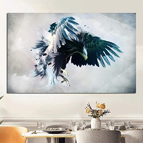 ganlanshu Agile Adler Jagd Leinwand Ölgemälde rahmenlose Moderne Wanddekoration Poster rahmenlose Grafiken auf Wilden Tieren 60cmX90cm