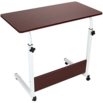 Allywit Folding Computer Desk 80cm40cm Computer Desk Cart, Height-Adjustable from 55cm to 73cm, Rotated 180 Degrees (B - Red)