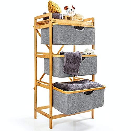 bambuswald©Cesto para la Colada Hecho de bambú ecológicoǀEstante con 3 cestas de algodón - Organizador y Separador de Ropa Sucia: 96 x 48.5 x 32.5 cmǀMueble para el baño o el Dormitorio