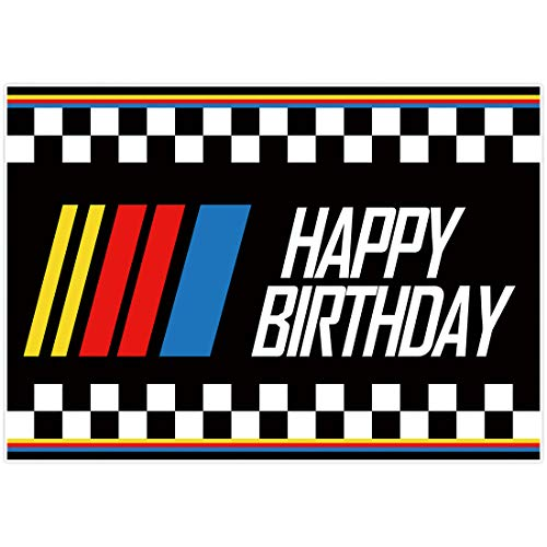 Allenjoy Racing Car Theme Happy Birthday Backdrop Champion Black and White Grid Photography Background for Motor Sport Competition Children Party Decor Banner Baby Shower 7x5ft Photo Booth Props
