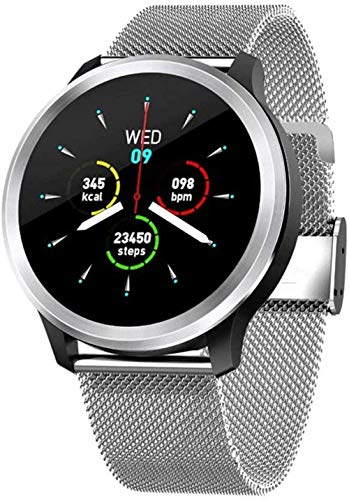 ECG+PPG reloj inteligente impermeable deportes pulsera HRV presión arterial ritmo cardíaco prueba reloj-negro-Steelstrip1