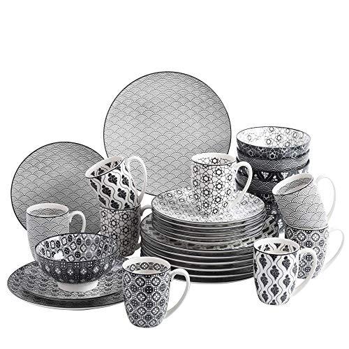 Vancasso, série Haruka, 32 pièces, pour 8 Personnes, 8 * Assiette Plate, 8 * Assiette à Dessert, 8 * Bol céréal, 8 Tasses, en Porcelaine, Style Japonais