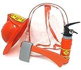 Brigamo Kinder Feuerwehrmann Rucksack, Feuerwehr Set mit Feuerlöscher Wasserpistole, Axt und...