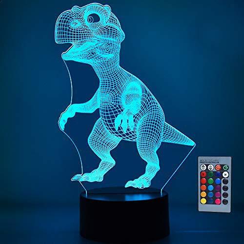 SOKY Geschenke für Jungen ab 3-10, 3D Dinosaurier Nachtlicht Dino Spielzeug für Kinder 2-10 Jahre Spielzeug für Jungen 3-10 Jahre Weihnachts Geschenke für Jungen 3-12 Jahre T-Rex Geburtstagsgeschenk