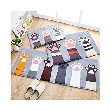 Huluwa Door Mat, Cute Cartoon Floor Mat Entry Carpet, Bathroom Absorbent Mat, Bedroom Area Rug Entrance Mat, Cat Palm, 23.6 x 15.7