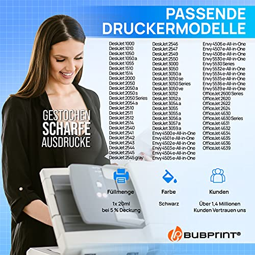 Bubprint Cartucho de Tinta Compatible para HP 301 XL para DeskJet 1000 1010 1050 1510 2050 2540 2544 2545 3050A 3055A Envy 4500 4502 4504 4508 5530 OfficeJet 2620 2622 4630 4632 4634 4636 Negro