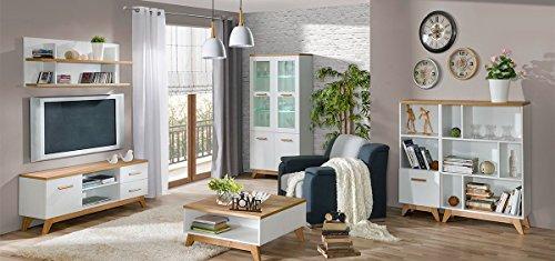 Wohnzimmer Komplett - Set C Panduros, 6-teilig, Farbe: Kiefer Weiß / Eiche Braun