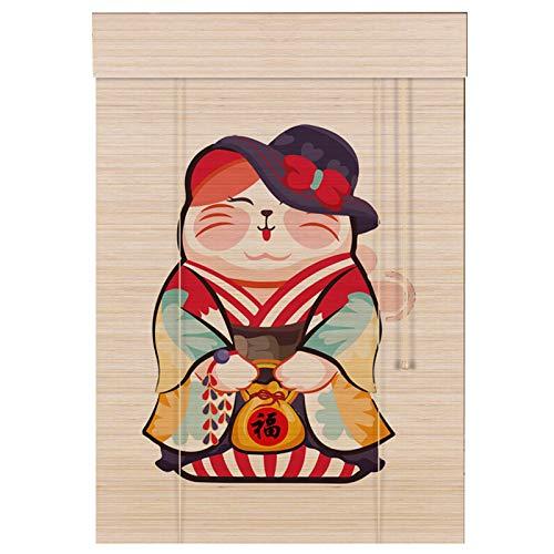 YILANJUN Natural Estores de Bambú Estampada Estilo Japonés,Personalización de Soporte,Artesanía Ingeniosa,Cortina Persiana Enrollables,Alta Practicidad y Decoración,12 Tipos