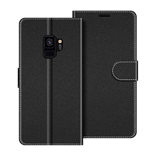 COODIO Custodia per Samsung Galaxy S9, Custodia in Pelle Samsung Galaxy S9, Cover a Libro Samsung S9 Magnetica Portafoglio per Samsung Galaxy S9 Cover, Nero