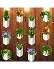 """Techhark® Wall Hanging Flower Pots for Home and Garden Decoration - Front H- 4"""", Back H- 6.5"""", Side Width- 5.5"""", Back W- 5"""" (Pack of 12)"""
