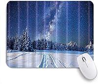 VAMIX マウスパッド 個性的 おしゃれ 柔軟 かわいい ゴム製裏面 ゲーミングマウスパッド PC ノートパソコン オフィス用 デスクマット 滑り止め 耐久性が良い おもしろいパターン (モミの木の雪の星空の夜)