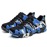 Mkiki Hombre Indestructible a Prueba de Balas Seguridad Zapatos Militar Trabajo Ligero Zapatillas - Azul, 46