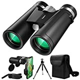 Byakov 12x42 Binoculars for Adults and Kids, Compact Hunting Binoculars with Clear Weak Light Vision, 18mm Large Eyepiece Binoculars for Bird Watching, Outdoor Sports and Concerts with BAK4 FMC Lens