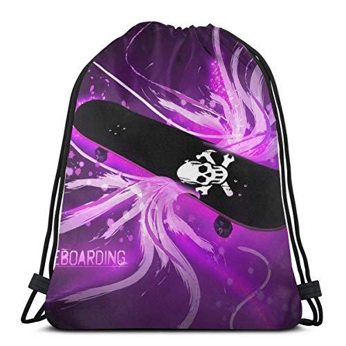 Lsjuee Classic Drawstring Bag, Skull Skate Gym Backpack Shoulder Bags Sport Storage Bag for Man Women