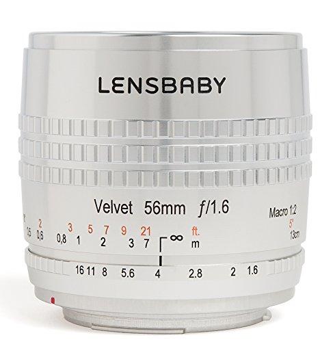 Lensbaby Velvet 56 Objektiv (56 mm Festbrennweite, kein Filtergewinde) für Canon EF silber