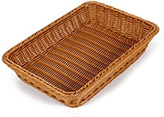 Betfandeful Bamboo Basket, Imitation Rattan Bread Basket, Food Fruit Basket, Rectangular Fruit Bowl, Supermarket Fruit Display Basket, Rattan Basket