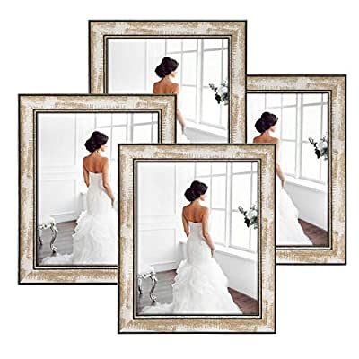 Q.Hou Picture Frames 8x10 Rustic Brown Whitewash Wood Color High Purity Silica Glass Photo Frames 4 Packs for Tabletop or Farmhouse Wall Decor?QH-WPC-1-8X10?