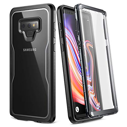YOUMAKER Crystal Clear Case for Galaxy Note 9, Full Body with Built-in Screen Protector Heavy Duty Protection Slim Fit Shockproof Rugged Cover for Samsung Galaxy Note 9 (2018) 6.4 inch - Clear/BK
