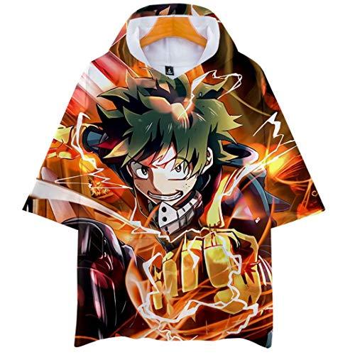 Camiseta My Hero Academia Camiseta Boku no Hero Academia Camiseta con Capucha Camisetas de Manga Corta Bakugou Katsuki Todoroki Shoto Midoriya Izuku Jersey de Manga Corta de Media Manga