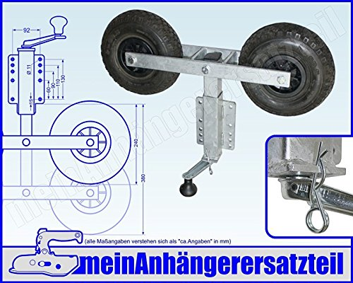 Kurbelstütze mit zwei Sliprollen Pendelrollen - 2fach - für Bootsanhänger