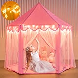 Moncoland Princess Castle Girls Play Tent Toy, Kids Large Fairy Playhouse Tent with Star Lights, Gift for Children Toddlers Indoor and Outdoor Games
