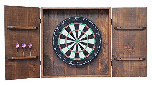 Country Rustic Wood and Iron Handcrafted Dart Board Wall Cabinet - Carmel Finish