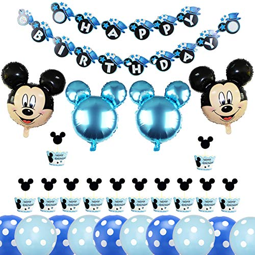 BESTZY Forniture per Feste di Compleanno di Topolino, Minnie Festa Compleanno Kit Palloncini Compleanno Striscioni di Buon Compleanno, Ccake Topper per Topolino Party a Tema(Blu )