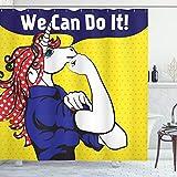 ABAKUHAUS Einhorn Duschvorhang, Einhorn mit Tupfen, Leicht zu pflegener Stoff mit 12 Haken Wasserdicht Farbfest Bakterie Resistent, 175 x 200 cm, Multi