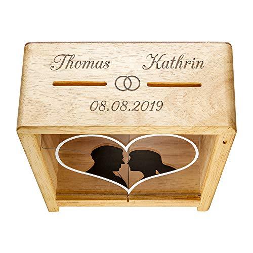 Casa Vivente Spardose zur Hochzeit mit Gravur, Motiv Eheringe, Personalisiert mit Namen und Datum, Aus Holz, Verpackung für Geldgeschenke