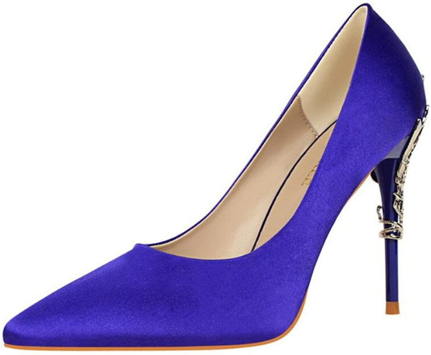 Pointed Toe Low Mid Kitten Heels Dress Court shoes Wedding Office shoes Satin Upper for Women Ladies Candy color Sandals,Purple,EU39