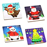 4PCS Wooden Jigsaw Puzzles for Kids Chritmas Gift Puzzles for Toddlers Kids 1 2 3 Years Old Educational Toys for Boys and Girls (4 PCS Chritmas)