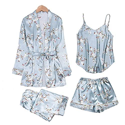 GHHONG Conjunto de Pijama de Mujer 4 Piezas Pantalones Cortos de CamisóN DsatéN Seda Bata Ropa Dormir Pijama(Size:L,Color:azul)