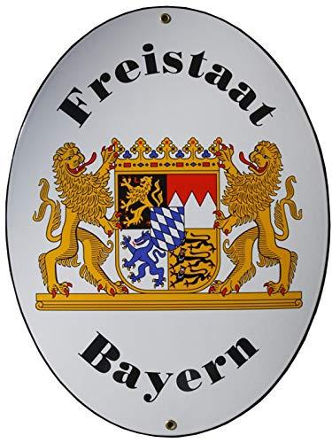 Freistaat Bayern Grenz Emailschild Emaille Schild Freistaat Bayern 28,5 x 37,5 cm Grenzschild Email Oval. Kurzfristiges Achtung: mit kleinen Mängeln!