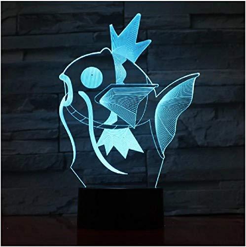 Linda mosca pescado 3D luz de noche USB LED iluminación de iluminación Decoración de la mesita de noche Lámpara de noche 7 colores Cambio automático de los niños Regalo