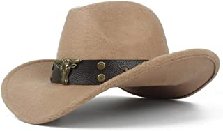 SHENTIANWEI Men Women Wool Western Cowboy Hat with Cow Head Leather Band Sombrero Hat Winter Outdoor Fascinator Hat Size 56-58CM