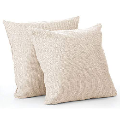 mDesign 2er-Set dekorative Kissenhülle – stilvoller Kissenbezug in Leinen-Optik mit den Maßen 51 cm x 51 cm – Zierkissenbezug für Sofa, Bank und Bett – cremefarben/beige