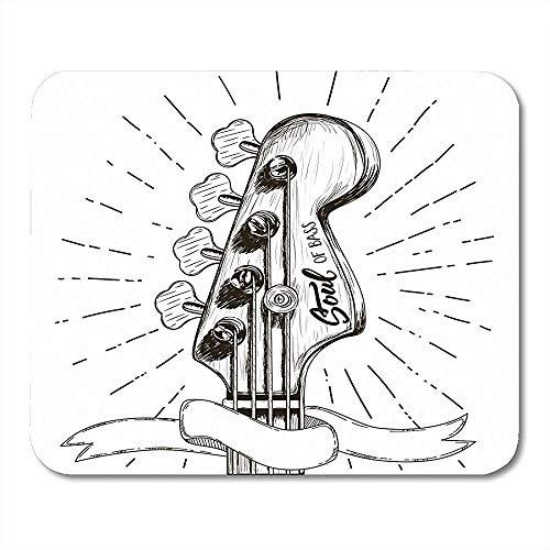 Mousepad Border Sketch Bassgitarre Für Rock Festival Label Roll Skateboard Symbol Mauspad 25X30Cm