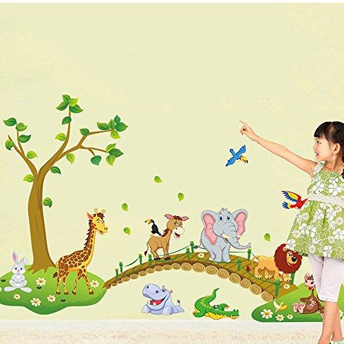 ufengke® Arbre Vert Lion Mignon Lapin Girafe Éléphant Traverser Le Pont Stickers Muraux, La Chambre des Enfants Pépinière Autocollants Amovibles